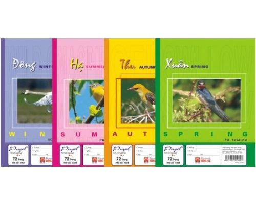 Vở kẻ ngang 4 mùa Hồng Hà 72 trang mã số 1004 Mã số 1001 Kích thước 175 * 250 (±2mm) Số trang 120 trang cả bìa Định lượng 58g/m² Độ trắng 82 - 84%ISO