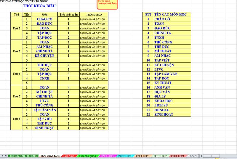Hướng dẫn sử dụng phần mềm lịch báo giảng mục thời khóa biểu