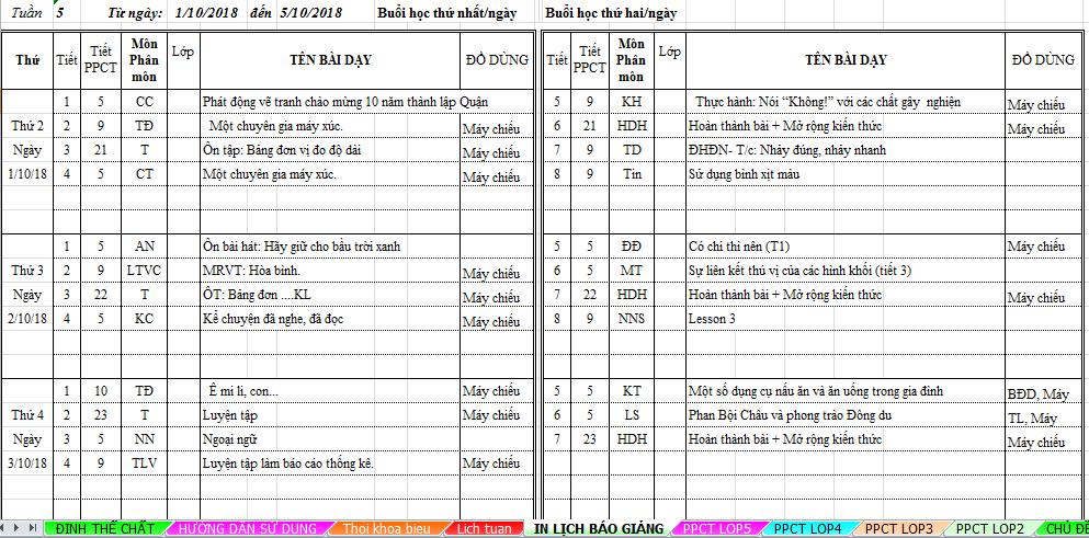 Thay đổi form lịch báo giảng theo đúng yêu cầu