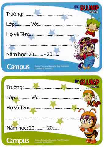 Nhãn vở Campus hình Dr Slump Arale