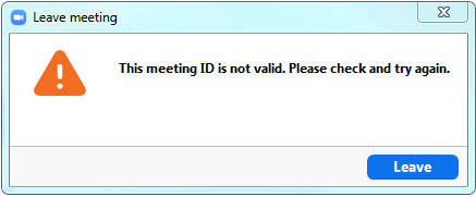 lỗi This meeting ID is not valid. Please check and try again trong zoom.