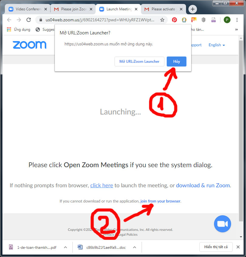 Bấm vào nút hủy và join from your browser.