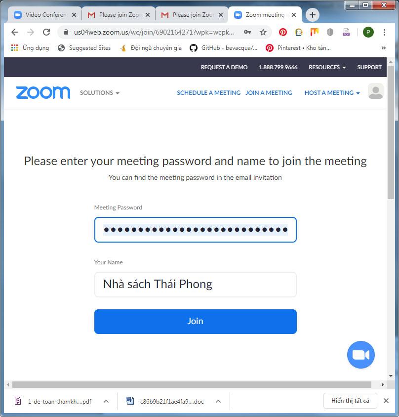 Click để đăng nhập zoom